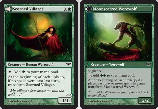 Scorned Villager / Moonscarred Werewolf | Magic: The Gathering Card